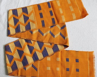 Kente Fabric Ghana Cotton Ethnic Handwoven Cloth Gold/ Blue/ Cream, Wide Strip, Gift Idea, Graduation Stole, Suitable for Sewing