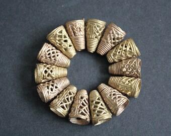 20 mm African Brass Cones, Handmade Lost Wax Ashanti Ghana Recycled Brass, 20 x 13 mm