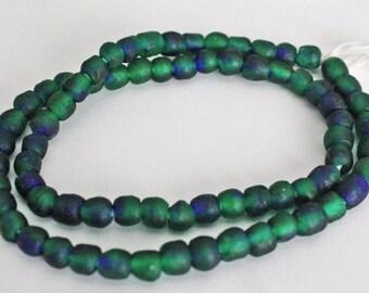 70 African Beads, Ghana Krobo Recycled Glass, Handmade ethnic craft, Round, Mottled Green/Cobalt Blue, 7mm Full Strand, RGBG1101903