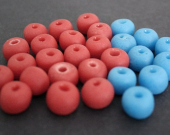 28 African Beads, Recycled Glass, Ghana Krobo, Opaque Red/Blue Mix, Round, 12-13 mm, Handmade for Jewelry and Crafts