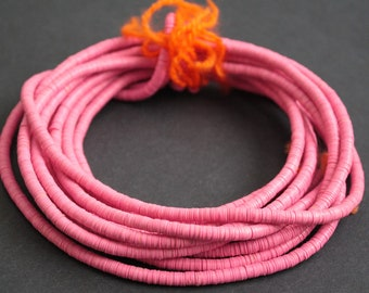 4 mm Pink African Vinyl Beads, Vulcanite Heishi Discs,  36- inch Long strand