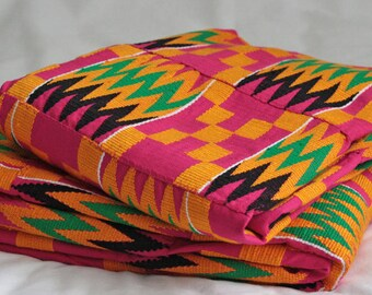 Pink Kente Cloth, Handwoven Authentic Ghana, African Fabric, Wedding & Occasion Wear, Cotton, Fathia Design, 2 Large Pieces, 4 yards approx