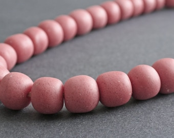 African Beads, Ghana Krobo Recycled Glass, 18mm,Round, Speckled Dark Pink, Handmade for Jewelry and Crafts for ANNE