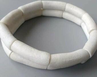 9 White African Tube Beads,Krobo Ghana Recycled Glass Tubes, 30 mm,