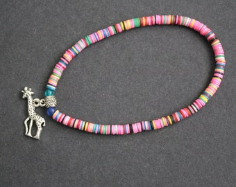 African Jewelry, Anklet Stretchy African Vinyl Vulcanite Heishi Disc Beads with Giraffe Charm, Pastels, Lovely Gift Idea