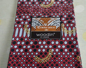 Woodin African Fabric,  Authentic Ghana Cotton Print, For Sewing, Crafts, Quilts, Head Wraps and More, Red/Black/Grey & Gold, 2 Yards