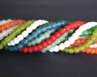 African Beads, Ghana Recycled Glass, Handmade  Krobo, 9-10 mm Round, for Jewelry and Crafts, 1 full strand or Pack of 28, RGB02101901
