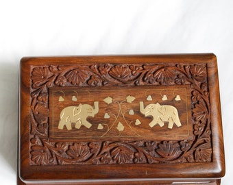 Wooden Jewellery Jewelry Box with Elephant Design Handmade Indian