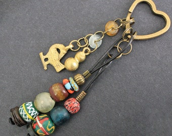Bag Charm, African Recycled Glass Beads with Adinkra* Sankofa Charm,  Small Gift for Her