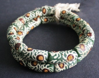 11 Large African Beads, Ghana Recycled Glass, Handmade 22-25mm Tubes, Dark Green, for Jewelry and Crafts, 1 Full Strand