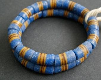 13 African Beads, Ghana's Krobo Recycled Glass Tubes 22 mm,  Handmade, Gorgeous, One strand, Blue/Gold