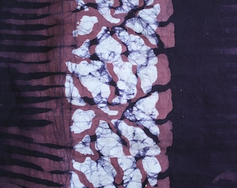 African Batik Fabric, Cotton, Hand-Dyed, Preshrunk Maroon, Dusky Pink & White, 2 Yards, Clothing/Interiors/Crafts