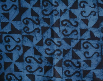 Blue African Batik Fabric,  Ethnic Print,  Preshrunk, Hand-dyed and Printed, Cotton, by the Yard, for Sewing, Quilting, Head Wraps, etc