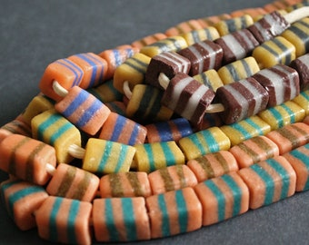 10 African Beads, Handmade Cuboid Ethnic Krobo Ghana Recycled Glass, 15 mm approx,  for Jewelry and Crafts, 7 Colour Options