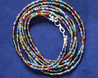 Double Strand Waist Beads, Pretty Multi-Coloured 3 mm Glass Beads with Silver Coloured Clasp Silver
