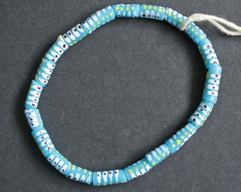 20 Pretty Blue African Beads, Recycled Glass, 10-15 mm Tubes, Handmade, 1 Strand or Pack of 20