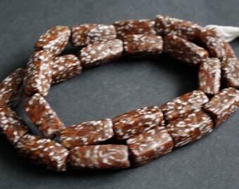 Large African Beads, Ethnic Ghana Krobo Refashioned Glass, Handmade, Pack of 8, Brown