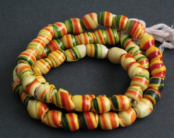 55 African Beads, Handmade Recycled Plastic, Approx 12-16 mm, Red/Yellow/Green for Jewelry and Crafts, Full strand, 32 inches Long
