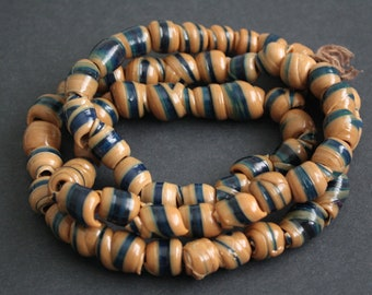 60 Brown African Beads, Handmade Recycled Plastic, Approx 12-16 mm, for Jewelry and Crafts, 1 Full Strand