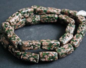 African Beads, Ethnic Ghana Krobo Cuboid Refashioned Glass, Handmade, Pack of 8, Brown/Green