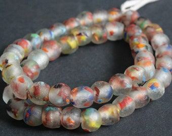 15 African Beads, Ghana Krobo Ethnic Refashioned Glass, 13-15 mm Handmade Ethnic Beads, Clear/Multi,  for Jewelry and Crafts