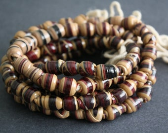 60 African Beads, Handmade Recycled Plastic, Approx 12-15 mm, Red Grape/Brown for Jewelry and Crafts, Full strand, 30 inches Long