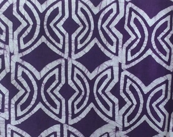 Purple African Batik Fabric by the Yard, Ghana Adinkra* Ethnic Cotton Print, Fawohodie (Independence) Symbol