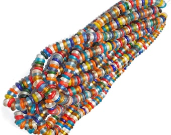 130 African Beads, Ghana Krobo Recycled Glass, Handmade Translucent Discs/ Donuts, Mixed Lot Strand, 10 to 12 mm, Full Strand