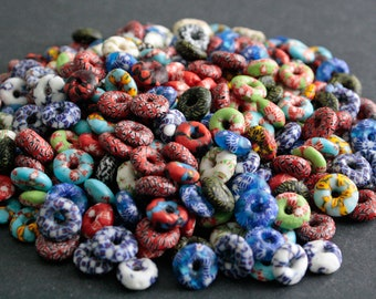 20 African Beads Mixed Lot Ghana Krobo Refashioned Glass Disc/Donut 14-15 mm, Handmade Ethnic Craft for Jewelry and Crafts 081902