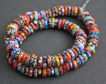 120 Mixed Refashioned Glass Disc Beads Hanmade in Ghana, 10-11 mm Wide, for Jewely and Crafts, 1 Full Strand