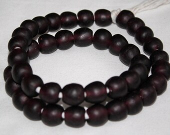 15 African Beads, Ethnic Recycled Glass craft from Ghana's Krobo, 13-14 mm, Dark Grape