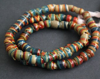 100+ African Beads, Recycled Plastic, Handmade, Swirly Round/tubes, Blue, Red & Beige, 6-8 mm for Jewelry and Crafts, 35 inches Long