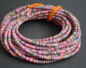 6 mm African Vinyl Beads, Vulcanite Heishi Discs,  33- inch Long strand, Pink Mix