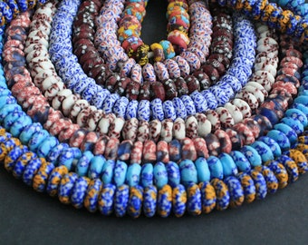 20 African Disc Beads, Handmade Refashioned Glass,  Krobo, Ghana 13-14 mm Spacers, for Jewelry and Crafts, 9 Design/Colour Options