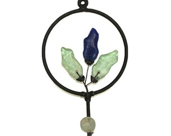 Wall Coat Hook Handmade Light Wrought Iron and Blue & Aqua Recycled Glass Accents