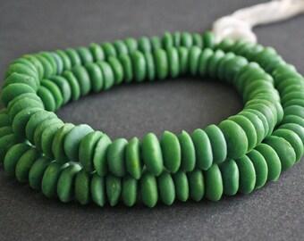 30 African Beads, Ghana Krobo Recycled Glass , 13-14mm Donut, Green, Handmade, 30-Pack