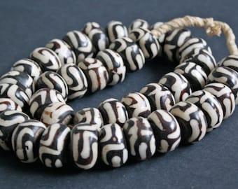 Ethnic African Bone Bead, Batiked Kenyan  21- 22mm x 12 - 14 mm , Pack of 9