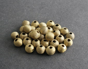 African Brass Beads Handmade Ethnic Craft, 10mm Round, for Jewelry and crafts, Pack of 16