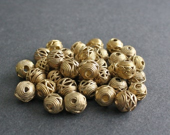 African Brass Beads, 15 Handmade Ethnic Lost Wax beads 12 to 13 mm