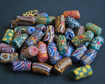 5 Giant African Tube Beads, Ghana Krobo Recycled Glass Ethnic Tubes, Handmade, Chunky 29-35 x 17 mm