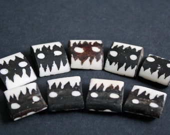 10 African Bone Beads,  Kenyan Ethnic 'Batiked' Curved Rectangle, for Jewellery Jewelry and Crafts,  Dark Brown/Cream
