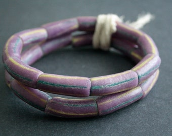 9 Purple African Beads, Recycled Glass from Ghana's Krobo, Long Tubes, 28-30 mm,  1 Strand for Jewelry and Crafts