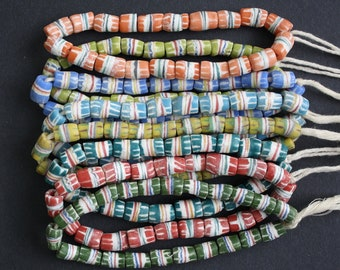 Small African Beads, Krobo Ghana Recycled Glass Hand-made Tubes 10 mm, 20-Pack/1 Strand,  Very Pretty