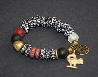 Adinkra African Bracelet, Ghana Krobo Refashioned Glass Beads, with Brass Beads and  Sankofa and Tree of Life Charms, 7 inches
