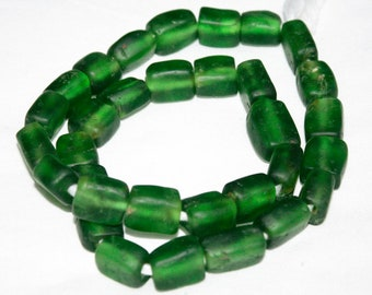 10 African Beads, Ghana Recycled Glass, Handmade, Krobo, ~Bright Green, Cuboid 16-20 mm for Jewelry and Crafts