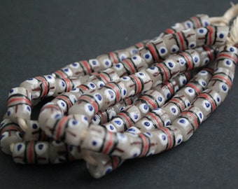 16 African Beads, Krobo Ghana Recycled Glass, Hand-made Tubes, 14-15 mm, One Strand, Milky White/Brown/Blue/Red