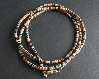 African Waist Beads, Screw Clasp, 3mm African Heishi Vinyl Vulcanite Beads