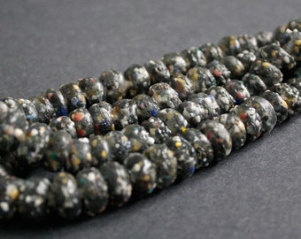 36 Black African Beads, Ghana Krobo Recycled Glass, Speckled Black, 6-8 mm thick, for Jewelry and crafts