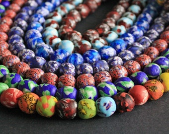 15 African Beads Handmade Ghana Krobo Refashioned Glass, Round 13-15mm, 9 Colour Options, for Beading & Crafts. Multi/Blue/Red/Turquoise/Red