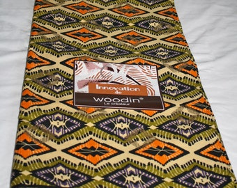 African Fabric by the Yard, Woodin Brand, Authentic Ghanaian Cotton Print, Sewing, Quilts, Head Wraps, Interiors, Green/Orange/Gold